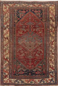 Pre-1900 Antique Vegetable Dye Bidjar Halvaie Persian Rug 4x7