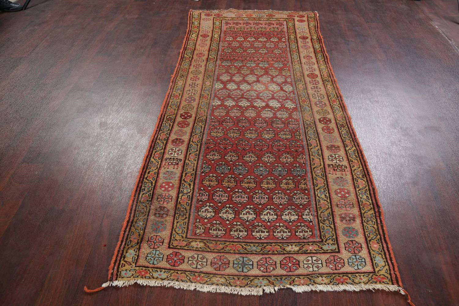 Pre-1900 Antique Vegetable Dye Malayer Persian Rug 3x8 image 17