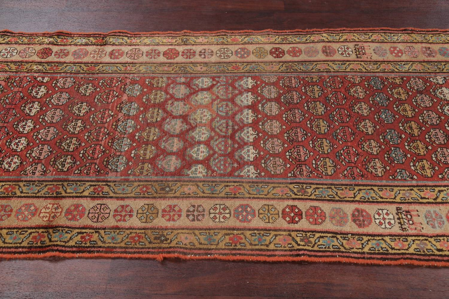Pre-1900 Antique Vegetable Dye Malayer Persian Rug 3x8 image 16