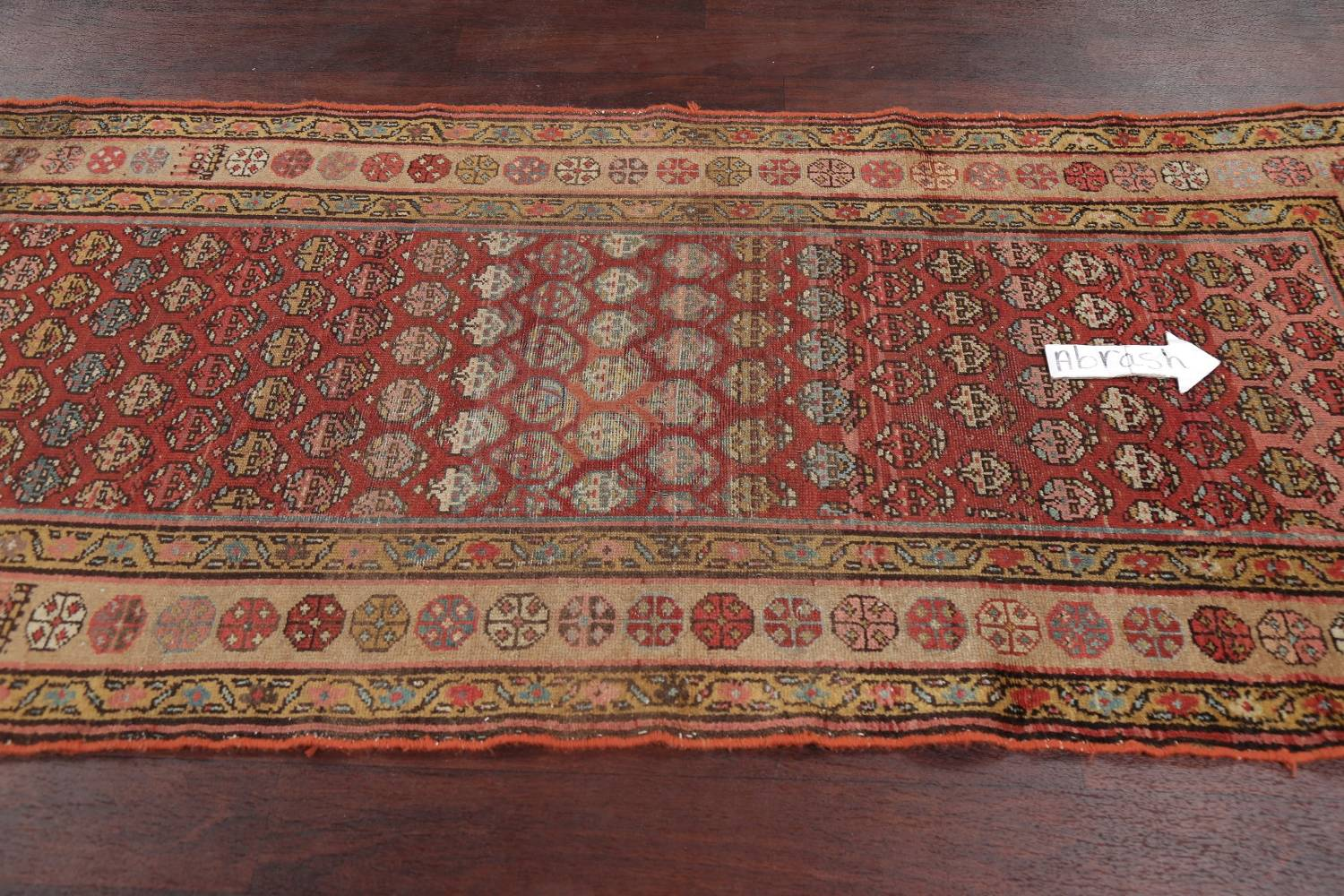 Pre-1900 Antique Vegetable Dye Malayer Persian Rug 3x8 image 13