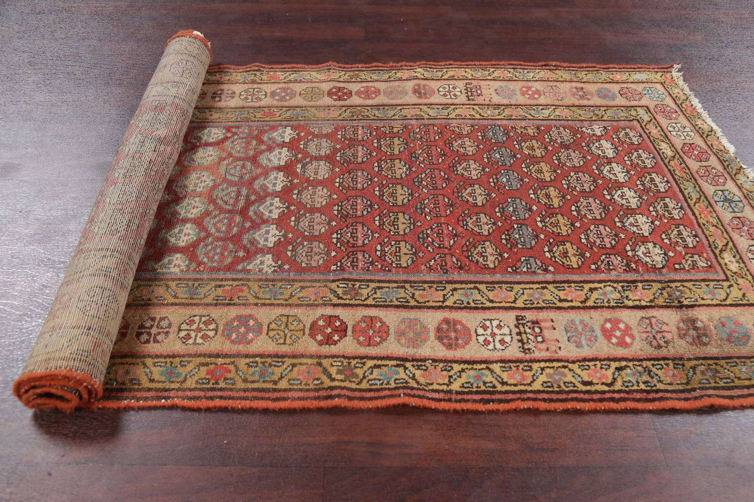 Pre-1900 Antique Vegetable Dye Malayer Persian Rug 3x8 image 20