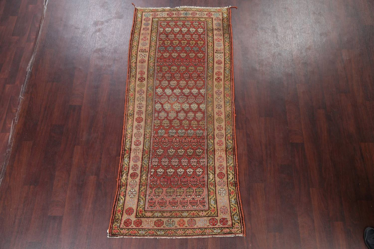 Pre-1900 Antique Vegetable Dye Malayer Persian Rug 3x8 image 2