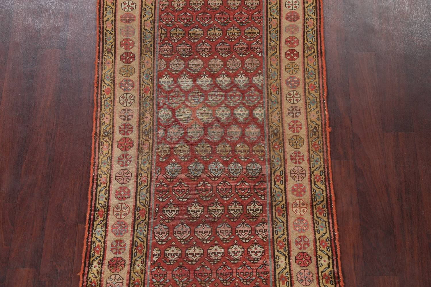 Pre-1900 Antique Vegetable Dye Malayer Persian Rug 3x8 image 3