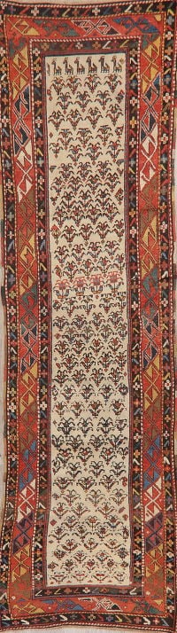 Pre-1900 Antique Vegetable Dye Shirvan Kazak Runner Rug 3x11