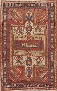 Pre-1900 Antique Vegetable Dye Shirvan Kazak Rug 4x6