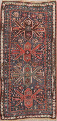 Pre-1900 Antique Vegetable Dye Shirvan Kazak Runner Rug 3x7