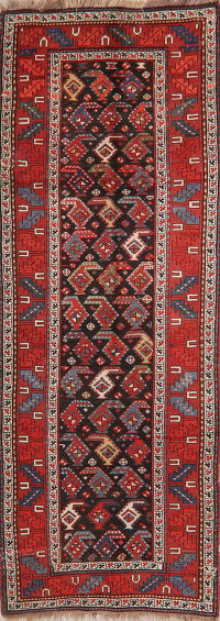 Pre-1900 Antique Vegetable Dye Caucasian Runner Rug 4x11