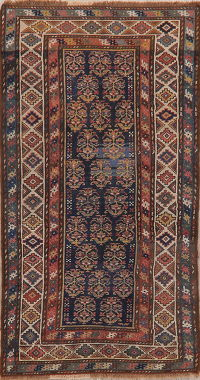 Pre-1900 Antique Vegetable Dye Kazak Caucasian Rug Wool 3x6