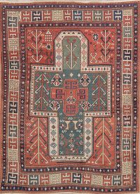 Pre-1900 Antique Vegetable Dye Kazak Caucasian Rug 5x7