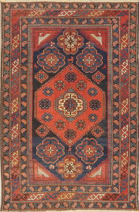 Pre-1900 Antique Vegetable Dye Kazak Oriental Area Rug 4x5