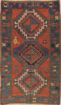 Pre-1900 Antique Vegetable Dye Kazak Caucasian Rug 4x7
