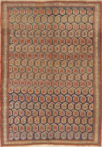 Pre-1900 Antique Vegetable Dye Kazak Area Rug Wool 5x7