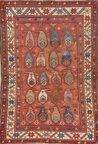 Pre-1900 Antique Vegetable Dye Kazak Boteh Caucasian Area Rug 4x6