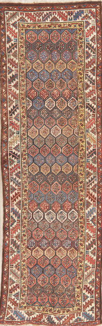 Pre-1900 Antique Vegetable Dye Kazak Caucasian Runner Rug 3x10