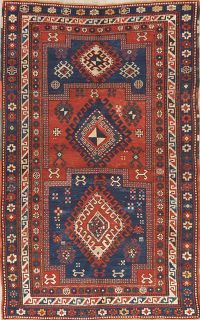 Pre-1900 Antique Vegetable Dye Kazak Oriental Area Rug 5x7