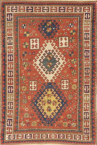Pre-1900 Antique Vegetable Dye Kazak Area Rug Wool 4x6