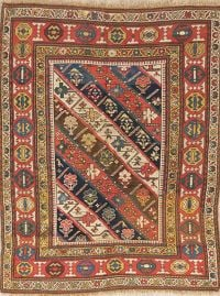Pre-1900 Antique Vegetable Dye Kazak Caucasian Area Rug 4x5