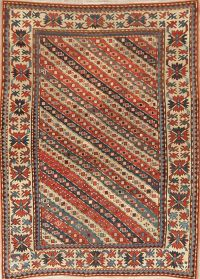 Pre-1900 Antique Vegetable Dye Kazak Caucasian Area Rug 4x6