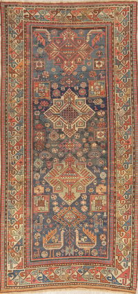 Pre-1900 Antique Vegetable Dye Shirvan Kazak Runner Rug 4x9