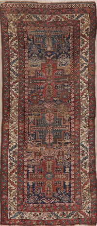 Pre 1900 Vegetable Dye Tribal Shirvan Persian Runner Rug 3x8
