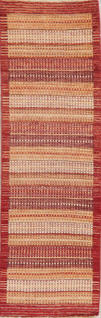 Multi-Color Stripe Modern Oriental Runner Rug 3x9