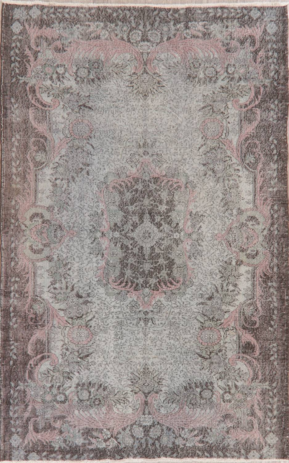 Antique Muted Distressed Aubusson Oriental Area Rug 6x10 image 1
