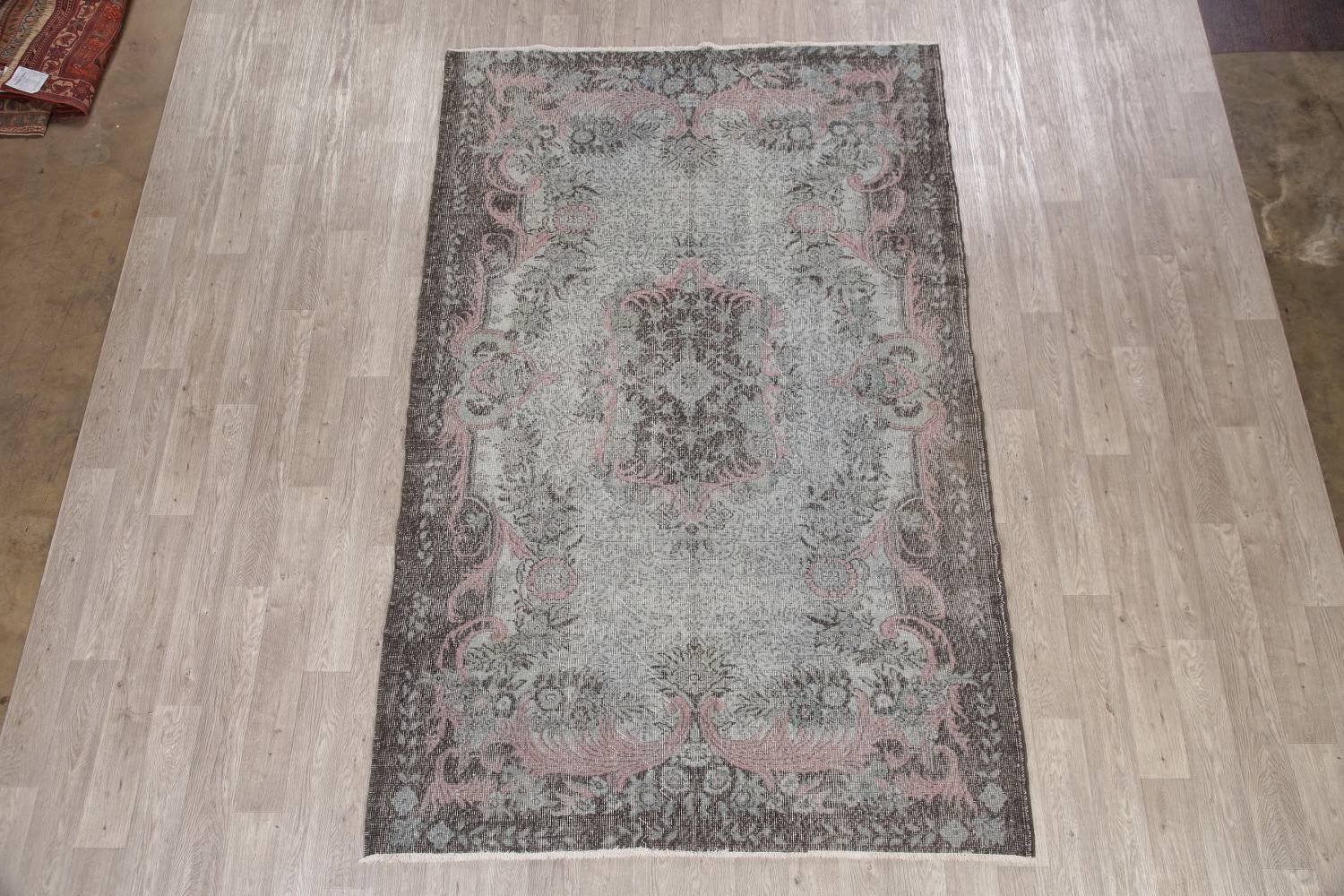 Antique Muted Distressed Aubusson Oriental Area Rug 6x10 image 2