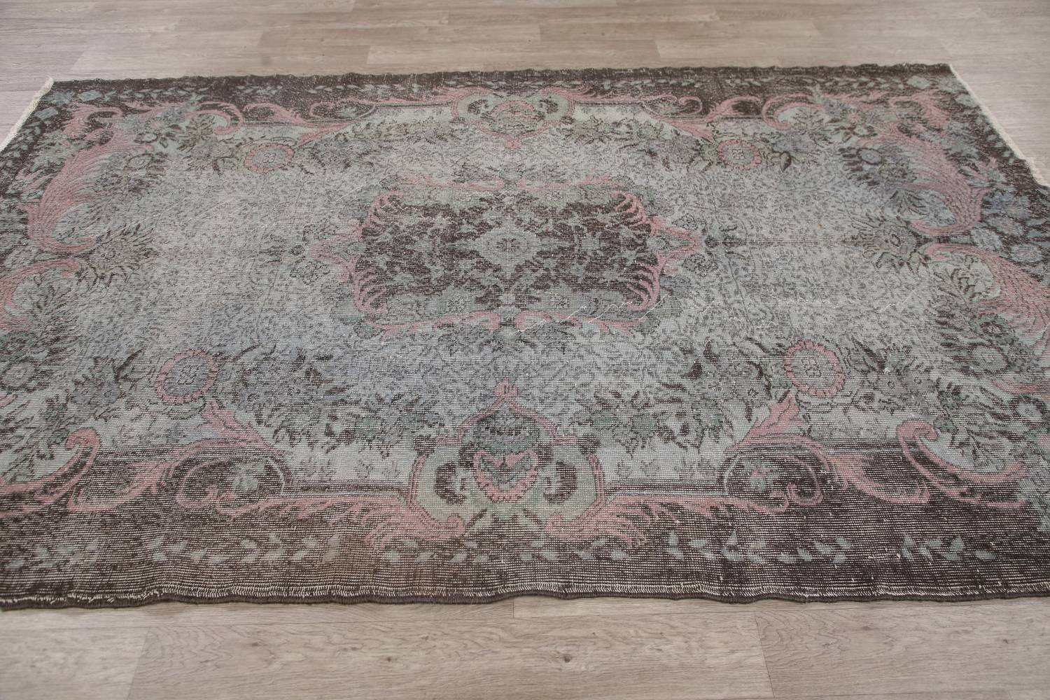 Antique Muted Distressed Aubusson Oriental Area Rug 6x10 image 15