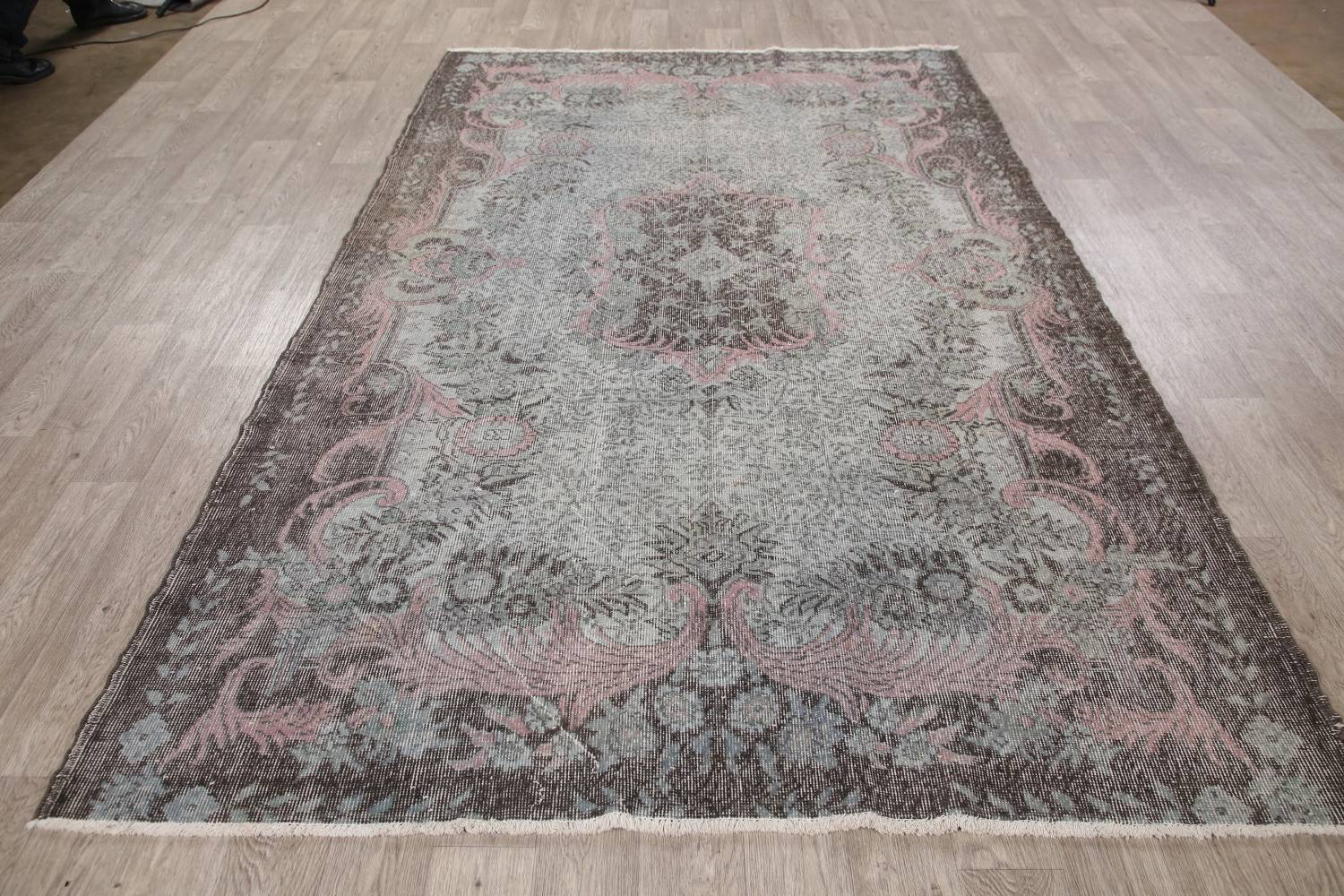 Antique Muted Distressed Aubusson Oriental Area Rug 6x10 image 16