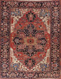 Pre-1900 Antique Vegetable Dye Heriz Serapi Persian Rug 10x13