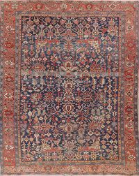 Pre-1900 Antique Vegetable Dye Heriz Serapi Persian Rug 9x12