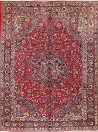 Vintage Floral Red Mashad Persian Area Rug Wool 10x13