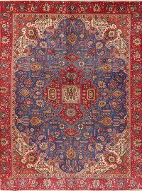 Geometric Red Tabriz Persian Area Rug Wool 9x13