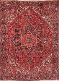 Vegetable Dye Geometric Red Heriz Persian Area Rug 9x12