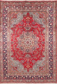 Vintage Floral Red Mashad Persian Area Rug Wool 6x9