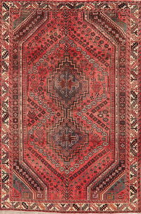 Geometric Red Shiraz Persian Area Rug Wool 6x9