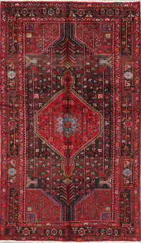 Black Tribal Hamedan Persian Area Rug 5x8