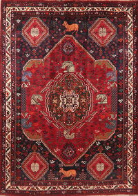 Antique Vegetable Dye Animals Shiraz Persian Area Rug 7x9