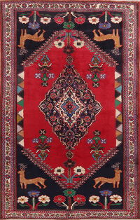 Animal Pictorial Red Shiraz Persian Area Rug Wool 6x10