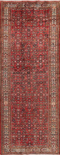 Vintage Geometric Red Hamedan Persian Runner Rug Wool 4x11