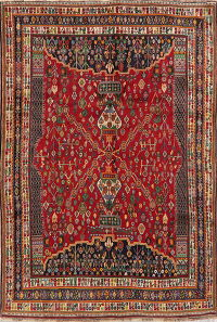 Vegetable Dye Vintage Tribal Kashkoli Persian Area Rug Wool 7x10