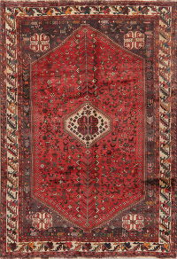 Vintage Tribal Shiraz Persian Area Rug Wool 7x10
