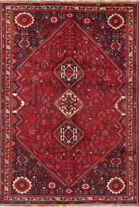 Vintage Tribal Red Abadeh Persian Area Rug Wool 7x11