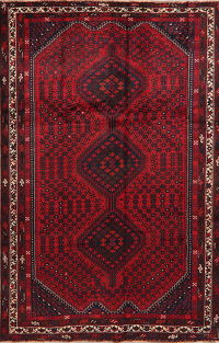 Vintage Geometric Shiraz Persian Area Rug 7x10