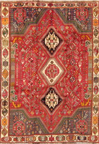 Vintage Tribal Red Kashkoli Persian Area Rug Wool 6x9