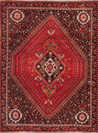 Vintage Tribal Geometric Shiraz Persian Area Rug Wool 7x10