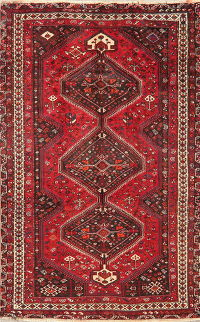 Vintage Tribal Geometric Shiraz Persian Area Rug Wool 5x8