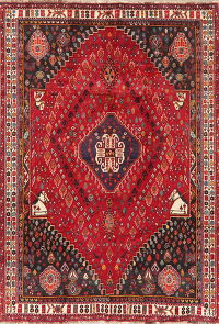 Vintage Tribal Red Abadeh Persian Area Rug Wool 5x8
