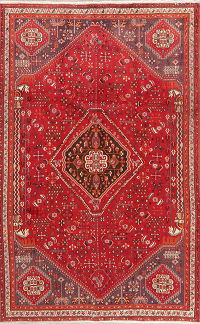Vintage Red Tribal Abadeh Persian Area Rug Wool 5x8