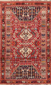 Red Tribal Geometric Kashkoli Shiraz Persian Area Rug 6x9